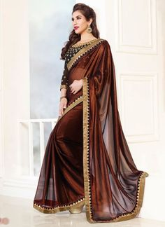 Sofia Hayat Dark Brown Shimmer Chiffon Party Wear Saree#bollywood  http://www.angelnx.com/Bollywood