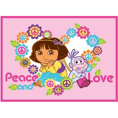 Dora the Explorer Peace and Love Nylon Rug, Pink- For Lilly's room (I hate pink)