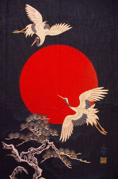 Arte japonesa com o tema do Grou-da-coroa-vermelha. Japanese Fabric, Japanese Art, Decorative Plates, Polyvore, Home Decor, Homemade Home Decor, Interior Design, Decoration Home, Home Interiors