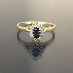 14k yellow gold natural round Diamond & Blue Sapphire cluster flower ring band by crystalanchor on Etsy