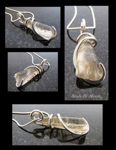 Rutilated quartz sterling silver pendant   Gemstones & Cabochons - Beads By Alison