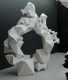 Another amazing Aranda/Lasch creation. Geometric Designs, Geometric Shapes, Paper Structure, Paper Art, Paper Crafts, Cardboard Sculpture, Geometric Sculpture, Sculpture Projects, Antony Gormley