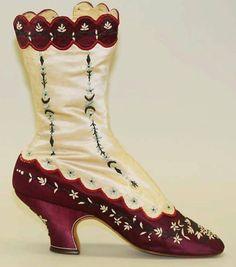 Victorian silk scalloped boots, 1880