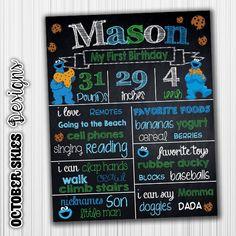 Cookie Monster Birthday Chalkboard / Sesame by OctoberSkiesDesigns