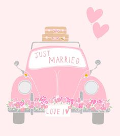 Just Married ~ by Charlotte Love Wedding Illustration, Cute Illustration, Wedding Anniversary Cards, Happy Anniversary, Rose Pastel, Wedding Art, Everything Pink, Just Married, Love And Marriage