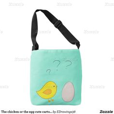 The #chicken or the #egg #cute #cartoon for Easter #Totebag #bags