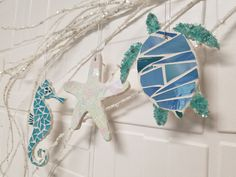 Coastal Beach Christmas Ornaments Glass Mosaic Ornaments, Sold Separately, Choose Color and Design, Discount Pricing on 4 or More - Lucy Designs Art