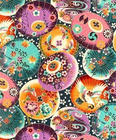 Asian Japanese Fabric: Japanese Parasols: Mums Purple/Teal (1/2 yd)