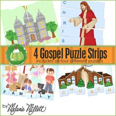 Green Jello with Carrots: LDS Gospel Puzzle Strips,, lots of ideas on here!