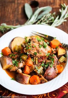 Slow Cooker Chicken Vegetable Stew Recipe - learn what vegetables, herbs and spices go well in chicken stew, and how to make a healthy chicken stew. Healthy Slow Cooker, Healthy Cooking, Slow Cooker Recipes, Crockpot Recipes, Chicken Recipes, Cooking Recipes, Healthy Recipes, Healthy Chicken, Whole30 Recipes