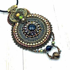 Stunning Statement piece!  Unique designs hand beaded jewelry & patterns for by OnAStringAU