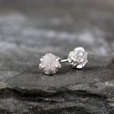 1 Carat Raw Diamond Earrings  Sterling Silver by ASecondTime