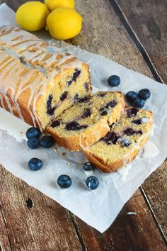 This Glazed Lemon Blueberry Pound Cake - a moist, buttery, lemon pound cake made with beautiful fresh blueberries and a sweet, tangy lemon glaze icing.  #lemon #cake #blueberry