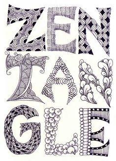 zentangle lettering – cool letter designs and embellishmen Doodle Drawing, Tangle Doodle, Zentangle Drawings, Doodles Zentangles, Doodle Art, Doodle Designs, Doodle Patterns, Zentangle Patterns, Doodle Lettering