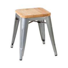 Aldgate Stool, Solid Ash Seat / Metal Legs, Silver Powder Coated Finish