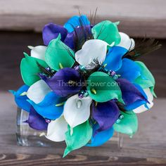 Peacock bouquet turquoise and purple bouquet by TheBridalFlower