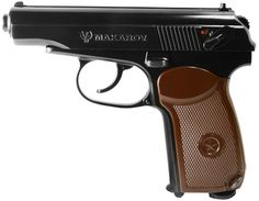 Legends Makarov pistol Uses one cartridge Shoots steel BBs removable BB mag Double- and single-action Fixed front and rear sights Full metal construction Moveable slide Black frame with brown grips Never shoot steel BBs at hard objects Paintball Guns, Airsoft Guns, Lever Action Rifles, Air Rifle, Extreme Sports, Self Defense, Hand Guns, Outdoor Gear, Pistols