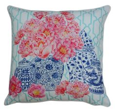 Mrs. Darcy Blooms Collection- Blue and White Ginger Jars Cushion: such a gorgeous design, made from classic blue and white ginger jars, filled with delightful peonies. Made from 100% cotton, white piping trim and includes a poly insert.