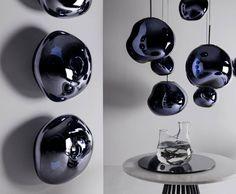 Distorted spherical lights, half-metallised to create an extraordinary optic effect. Tom Dixon Melt, Kitchen Lighting Fixtures, Swedish Design, Art And Technology, Window Decals, Living Room Lighting, Latest Colour, Decoration, Decorative Accessories