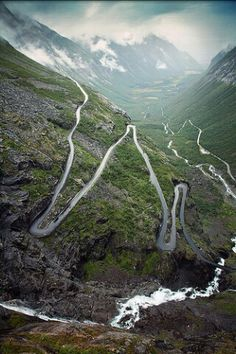 Wonderful!!  Trollstigen (English: Trolls' Path) is a serpentine mountain road in Rauma Municipality, Møre og Romsdal county, Norway.