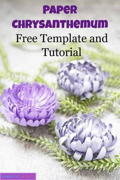 Paper Chrysanthemum Flower Template - DOMESTIC HEIGHTS diy paper flower tutorial, free svg and printable templates, paper chrysanthemum, paper craft ideas Paper Flower Wreaths, Paper Quilling Flowers, How To Make Paper Flowers, Large Paper Flowers, Paper Flowers Wedding, Tissue Paper Flowers, Paper Flower Wall, Paper Flower Backdrop, Paper Roses