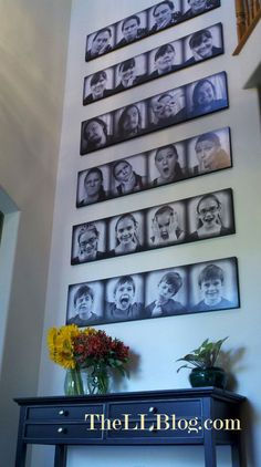 DIY photobooth family pictures. Like this idea for the stairs.