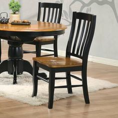 Three Posts Courtdale Solid Wood Dining Chair (Set of Finish: Almond / Ebony Solid Wood Dining Chairs, Dining Table In Kitchen, Kitchen Chairs, Upholstered Dining Chairs, Dining Chair Set, Dining Room, Dining Sets, Parsons Chairs, Wood Slats