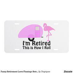 Funny Retirement Lawn Flamingo Retro Camper License Plate