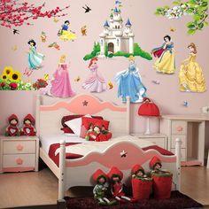 Removable diy seven princess birds flower castle wall stickers home decor.