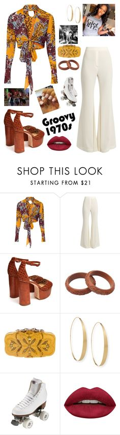 """""""70s Dance/Skate Party"""" by mikamik on Polyvore featuring E L L E R Y, Brother Vellies, NOVICA, Oscar de la Renta, Lana, Riedell and Huda Beauty"""