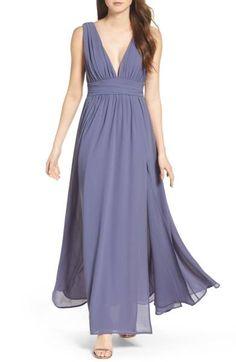 Main Image - Lulus Plunging V-Neck Chiffon Gown Slate Blue Bridesmaid Dresses, Prom Dresses Blue, Event Dresses, Bridesmaids, Formal Dresses For Women, Chiffon Gown, Nordstrom Dresses, Ball Gowns, Dress Up