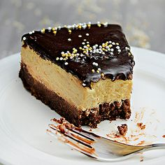 Salted caramel and chocolate baked cheesecake