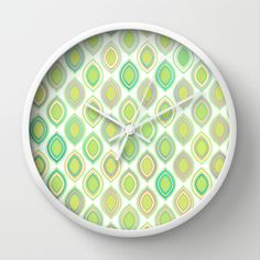 Lemon & Lime Pattern Wall Clock by micklyn - $30.00