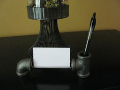 black iron furniture. Industrial Design Business Card And Pen Holder Made From Black Iron Pipe Steampunk Furniture