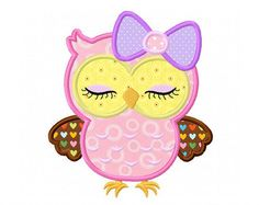 Cute Girly Owl With Bowowl Digital Applique By CherryStitchDesign Embroidery Machine
