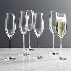 Sale ends soon. Shop Black and White Collection 8 oz. Champagne Glasses, Set of Timelessly classic, these simply designed clear champagne flutes put the focus on fine champagnes or everyday sparklers. White Wine Glasses, Champagne Glasses, Home Bar Setup, Wedding Champagne Flutes, Old Fashioned Glass, Bowl Designs, Wine Stoppers, Dinnerware Sets, Crate And Barrel