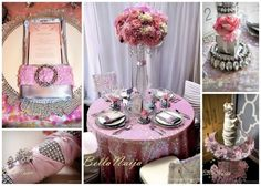 Pink Hues with Rhinestones for a Romantic Wedding Theme