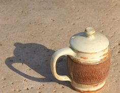 Tan and plum Coffee or Tea Mug with a lid  hand by muddywaterscc, $25.00