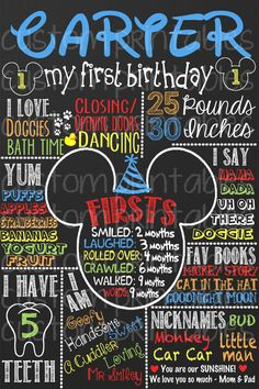 Mickey Mouse Clubhouse Custom Birthday Board - Chalkboard Mickey Board for babies first birthday FREE 8x10 with purchase! DIY print, digital on Etsy, $24.00