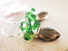 Woodland Gemstone Earrings Smoky Quartz by thelittlehappygoose, $45.00