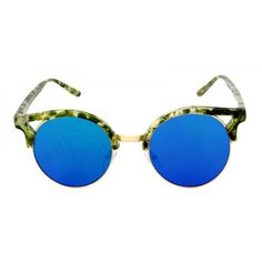 Oversized Round Marble Cat Eye Flat Lens Sunglasses Crystal Clubmaster Mirrored Glasses - Alyssa