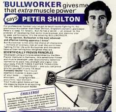 Peter Shilton of Leicester City & England advertising the Bullworker in Retro Football, Football Design, Isometric Exercises, Laws Of The Game, Sir Alex Ferguson, Vintage Instagram, Muscle Power, Association Football, Most Popular Sports