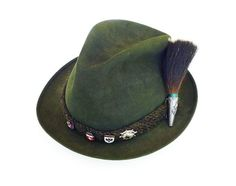 German Austrian, Fedora Hat, Alpine Bavarian, Mountain Climbing, Gamsbart Trachten, Stag Deer, Boar Brush Pin, Green Wool, Vintage Mens Hat by zephyrvintage on Etsy
