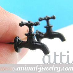 Small Water Tap Facet Shaped Fake Gauge stud Earrings in Black