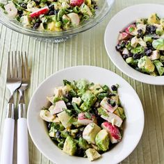 Recipe for Chicken, Black Bean, Avocado, and Radish Salad with Lime and Cilantro; love the crunch of radishes in this tasty salad!  [from KalynsKitchen.com]