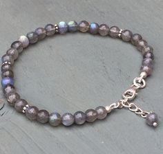 925 Sterling Silver Labradorite 5mm Beaded Bracelet PSYCHIC AID Chakra Wicca