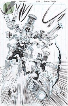 Deadpool vs. Hawkeye by James Harren *