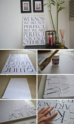 Transfer Quotes On Paper To A Canvas.                                                                                                                                                                                 More