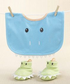 Look at this Baby Aspen Blue Chomp & Stomp Dinosaur Bib & Booties on #zulily today!