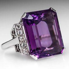 Purple Amethyst Cocktail Ring w/ Diamond Accents Platinum - EraGem